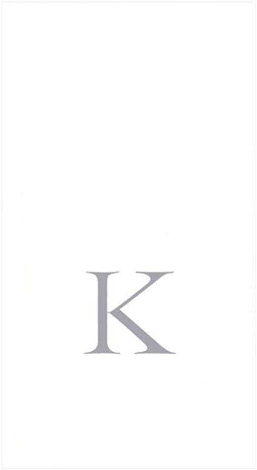 Caspari White Pearl & Silver Paper Linen Boxed Guest Towel Napkins in Letter K - Pack of 24
