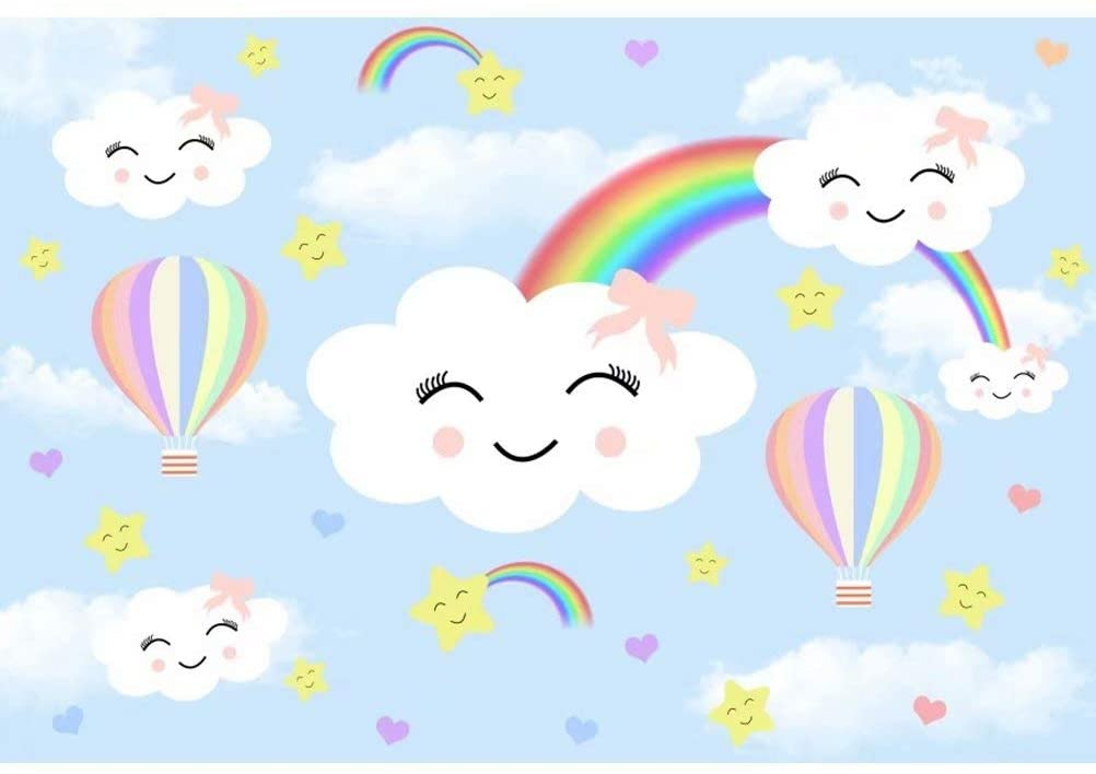 OFILA Cartoon Clouds Rainbow Backdrop 8x5ft Polyester Fabric Smiling Face Background Girls Baby Shower Party Decoration Newborn Baby Portraits Toddler Girls Birthday Portraits Studio Props
