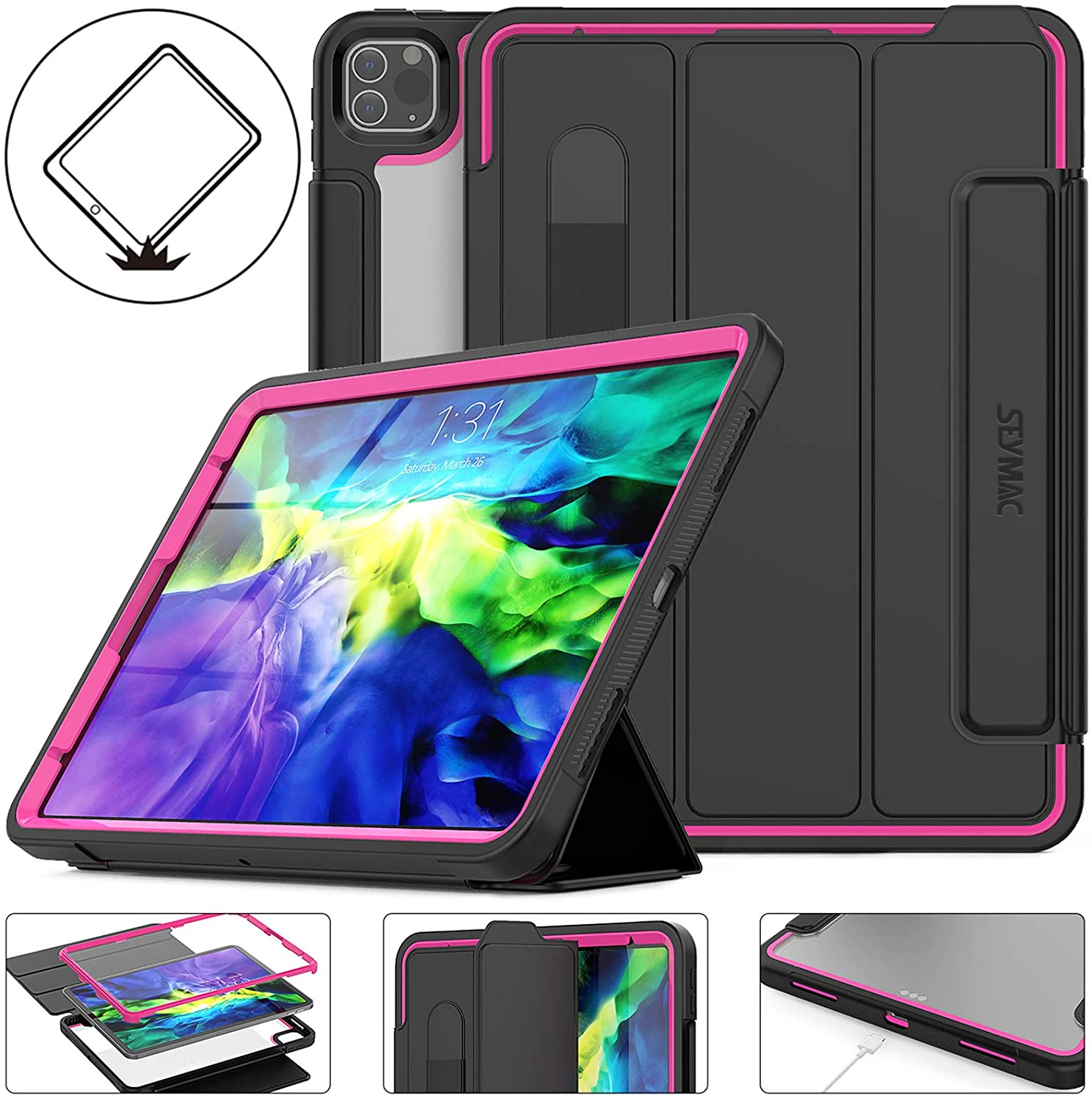 SEYMAC Stock Compatible for iPad Pro 11 Case, Shockproof Protective 11 inch Case Rugged Smart Cover Auto Sleep Wake with [Screen Protector] Stand and Clear Feature for Pro 11 2020 & 2018 (Rose/Black)