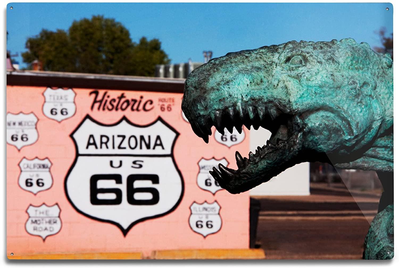 Lantern Press Route 66 Dinosaur Statue (12x18 Aluminum Wall Sign, Wall Decor Ready to Hang)