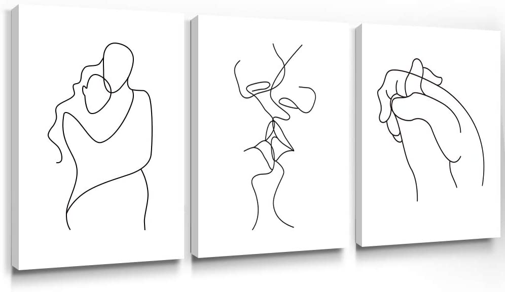 Gronda Wall Art for Bedroom Minimalist Black and White Canvas Paintings Home Decor Framed Lovers Prints Artwork Pictures for Living Room Ready to Hang 12x16 inch, 3 Panels