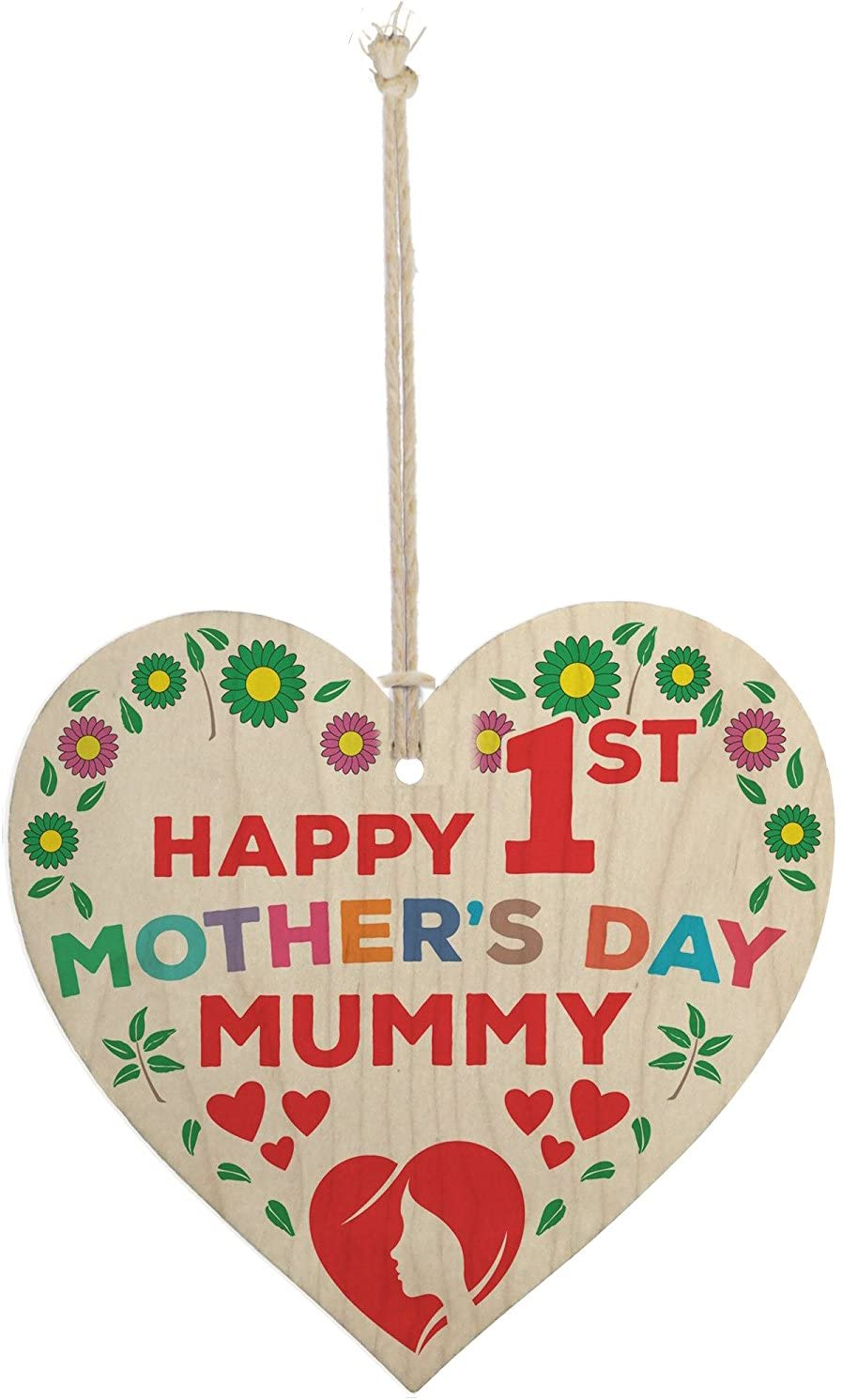 Meijiafei First Mothers Day Wooden Hanging Heart - New Baby Boy Girl Present Gift Plaque