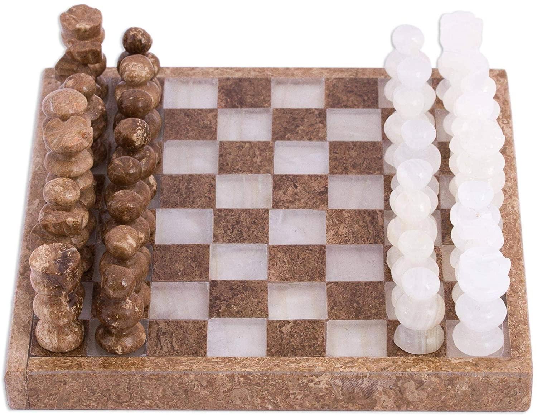 Ivory Challenge Onyx and Marble Mini Chess Set (5 Inch) Handmade