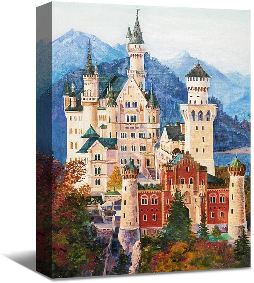 SENEW Landscape Canvas Wall Art for Bedroom, Living Room, Office, Castle Wall Art Artistic Framed Canvas Prints for Wall Decor,16