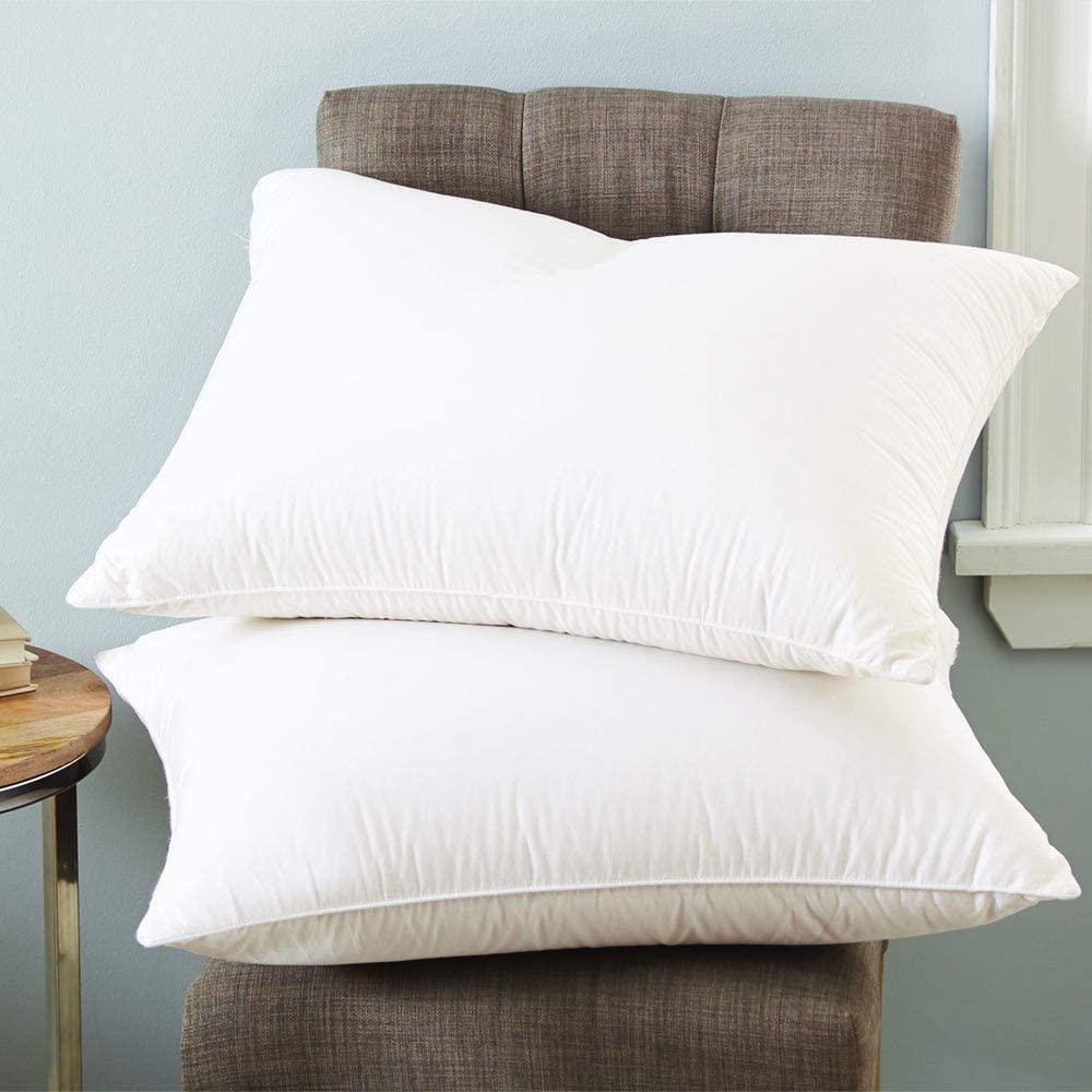 dreamstead by Cuddledown 700 Fill Power European White Goose Down Pillow for Sleeping, Soft, 100% Cotton, Luxury Sateen Pillow, King Size, White