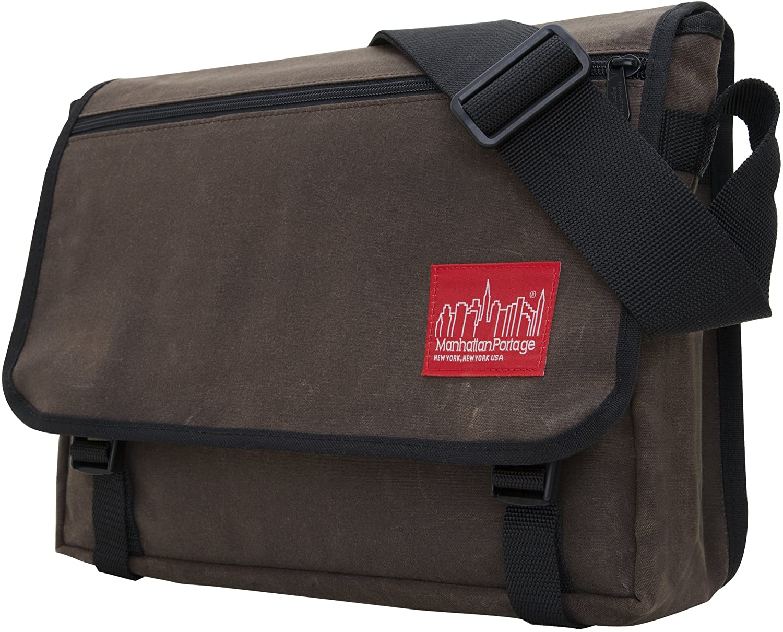Manhattan Portage Waxed Canvas Europa Messenger Bag, Dark Brown