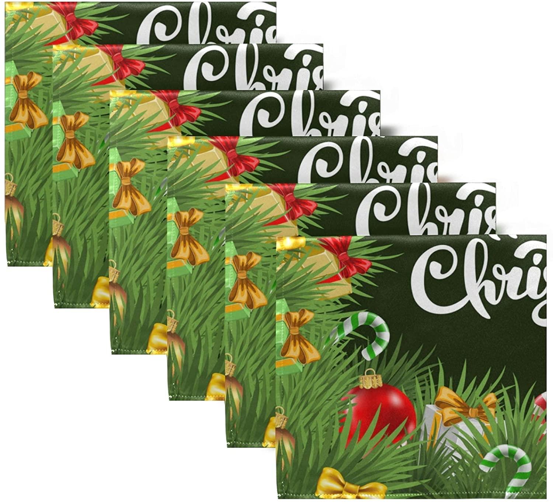 senya 20 Inch Cloth Napkins Set of 6, Festive Christmas Square Premium Polyester Table Linen Napkin for Dinner Parties Christmas