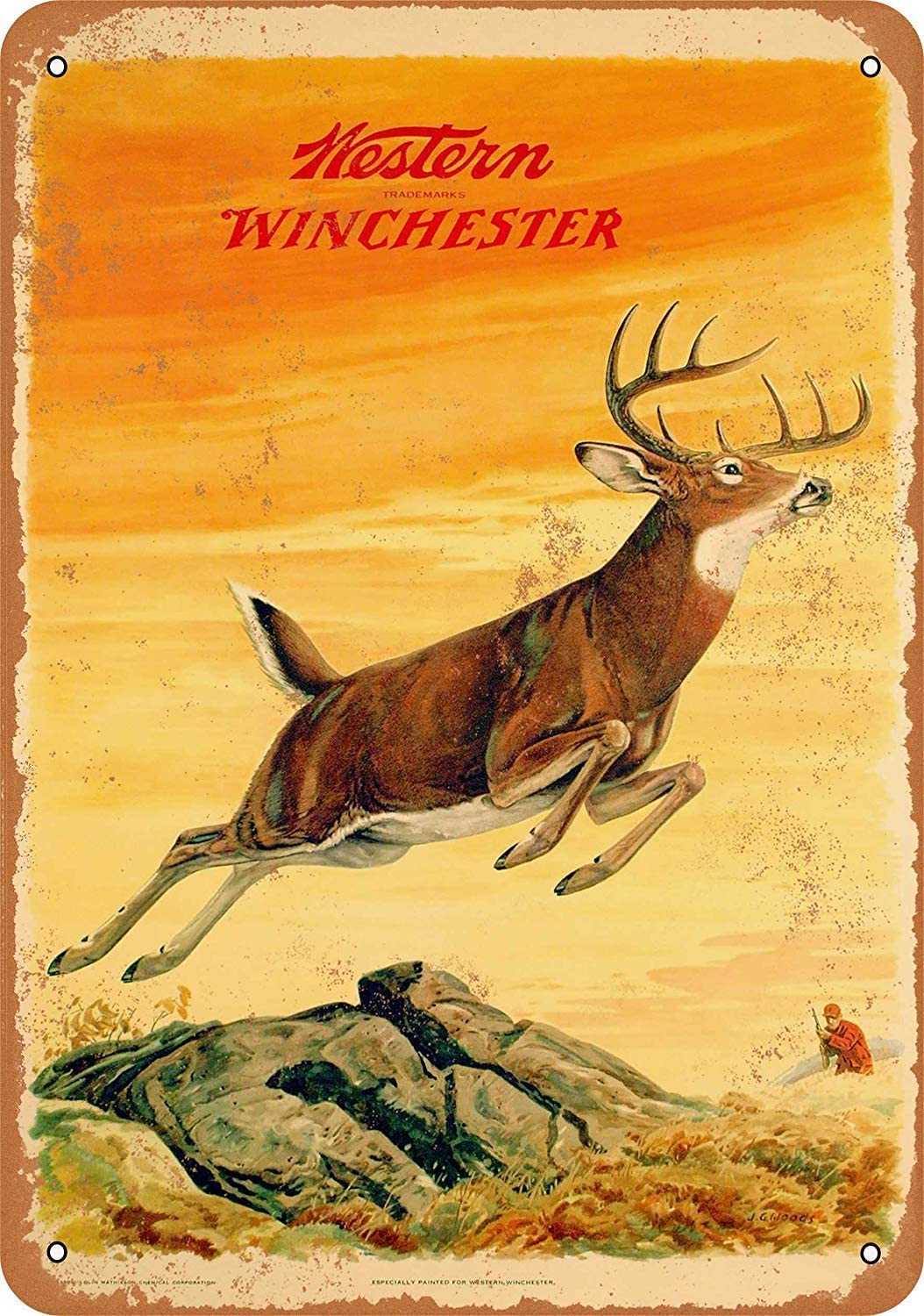 Wisesign Metal Sign 16x12 - Vintage Style/Rusty Look 1958 Western Winchester Deer, Tin Signs for Bar Pub Beer Home Garage Man Cave Wall Decor