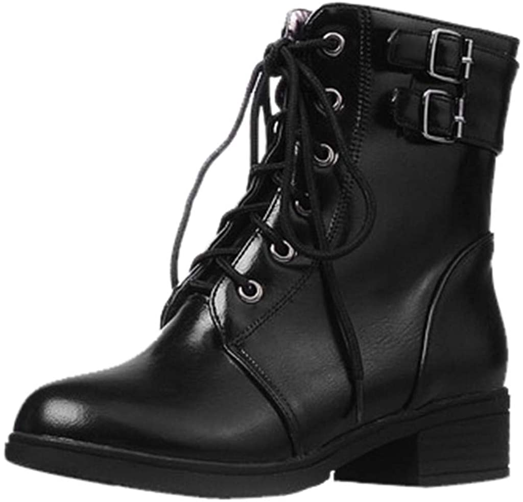 Simayixxch Women's Vintage Knight Short Boots Round Toe Low Heel Lace-Up Casual Ankle Booties Buckle Strap Party Boots