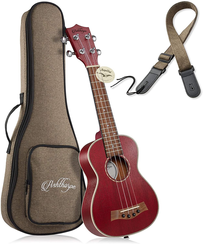 Ashthorpe Soprano Ukulele (Red) - 21-Inch Professional Uke with Aquila Nylgut Strings, Padded Gig Bag, and Strap
