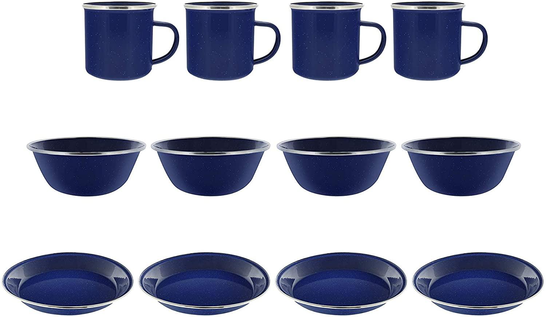 Camping Dinnerware 4-Person Set, 12 Items - 4 ea of 24 oz Mugs 6