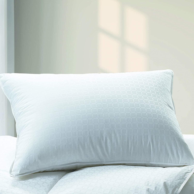 Cuddledown dreamstead 700 Fill Power European White Goose Down Pillow for Sleeping, Medium, 100% Cotton Pillow, King Size, Windowpane