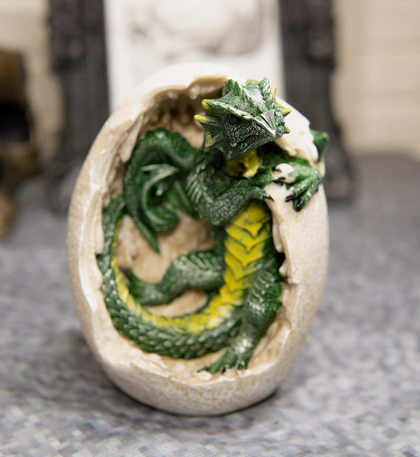 Ebros Gift Fossil Elemental Dragon Wyrmling Hatchling Breaking Out of Egg Shell Decorative Figurine 5 H Dungeons and Dragons Collectible Eggs Decor Medieval Renaissance Theme (Green Spectrum)