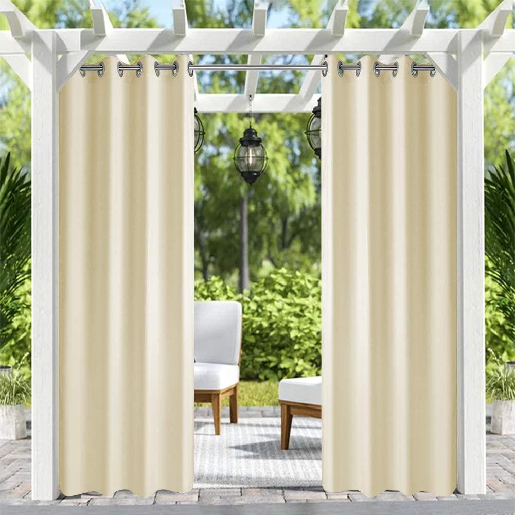 Pro Space Outdoor Curtains Blackout 2 Panels Grommets Top Waterproof Drapes for Pergola/Porch, 50x120, Beige