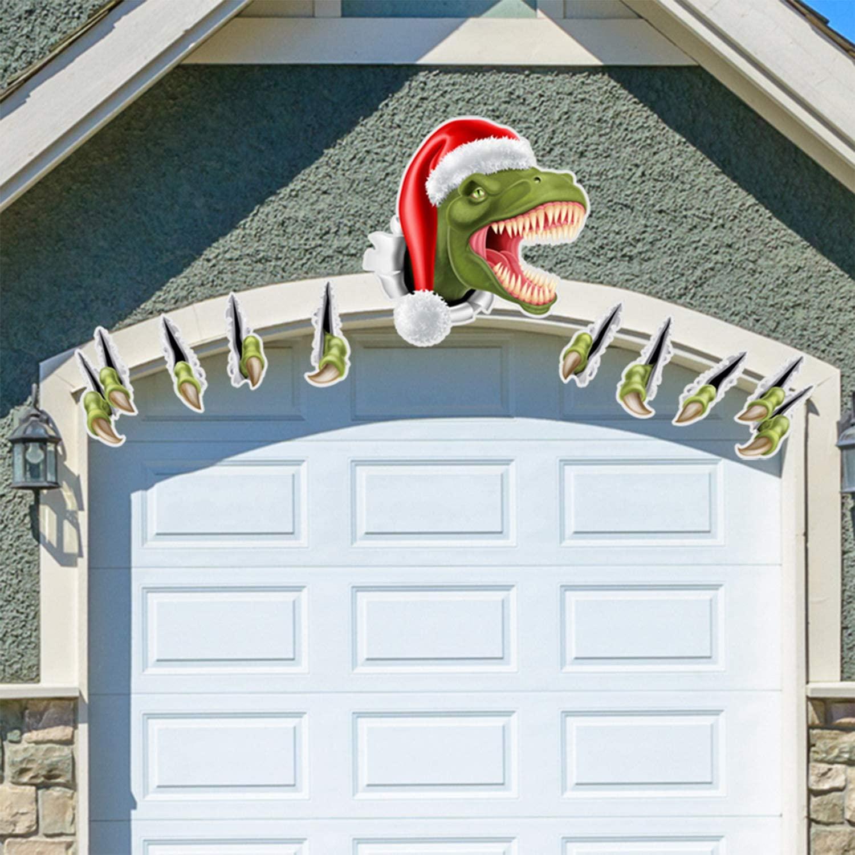 CABINAHOME Creative Christmas Green Dinosaur Garage Door Decorations Door Car Wall Stickers Decals Outdoor Holiday Decorations
