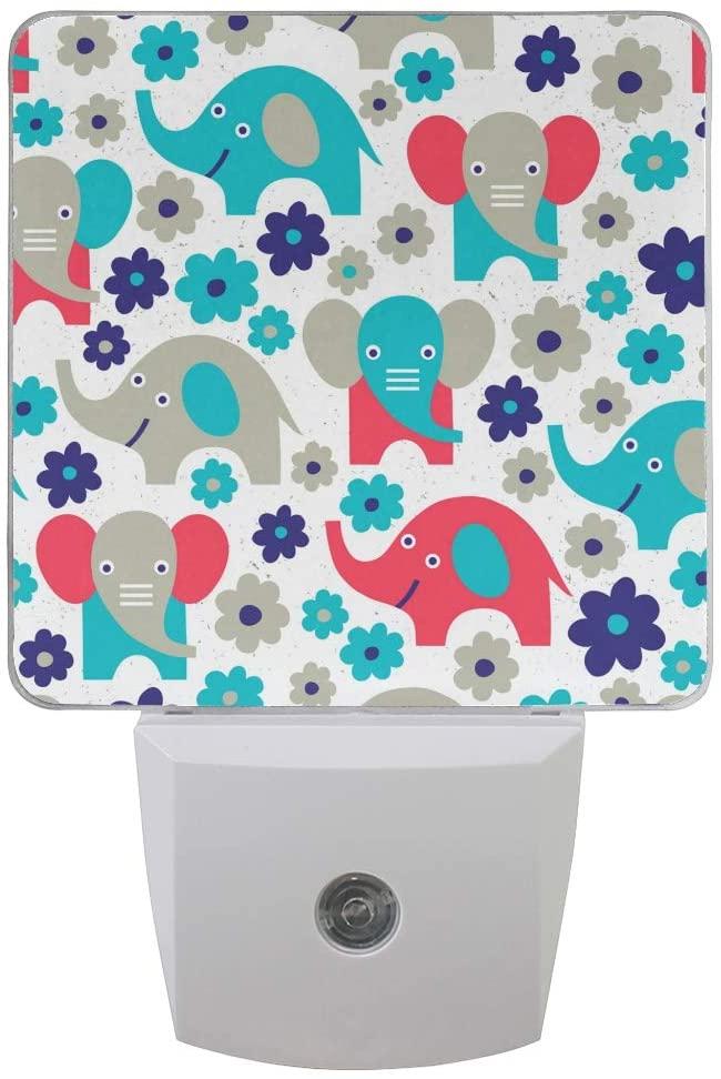 Printing Cartoon Elephant Floral Patterns on Plug-in LED Night Light Warm White Nightlight for Bedroom Bathroom Hallway Stairways(0.5W 2-Pack)