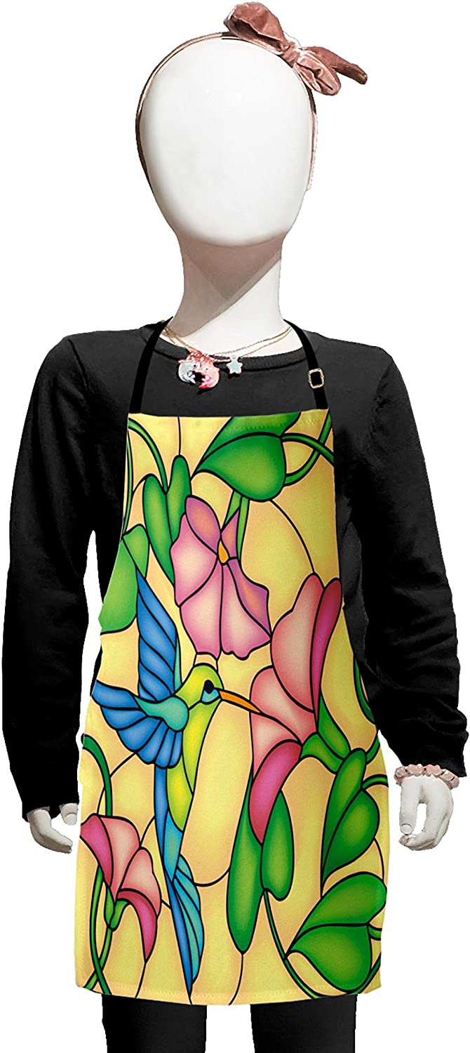 Lunarable Hummingbird Kids Apron, Stained Glass Style Bird and Hibiscus Tropical Flora and Fauna Illustration, Boys Girls Apron Bib with Adjustable Ties for Cooking Baking and Painting, Multicolor