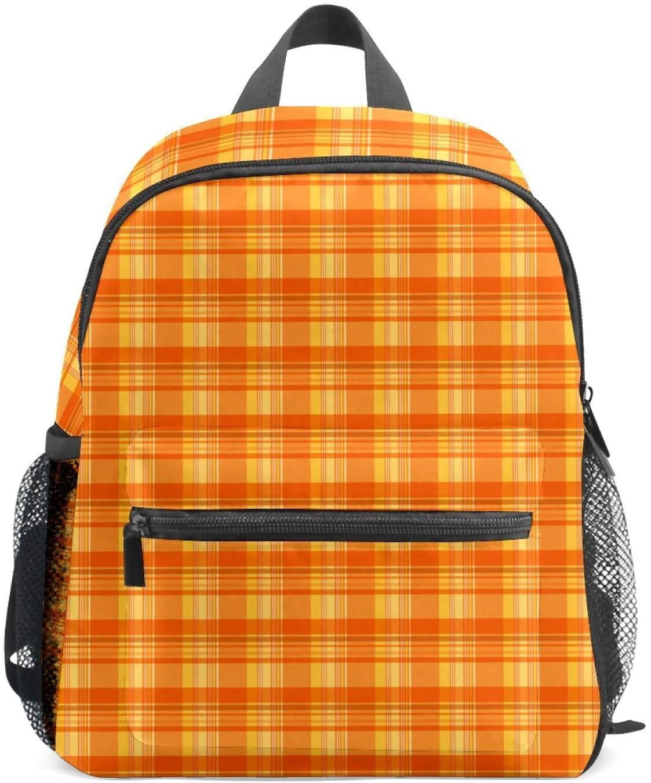 Cute Kids Backpack for Girls Age 3-8 Small School Bag Light Orange Plaid Squares Mini Backpacks for Toddler Children Kids Teens School Adult Outdoor