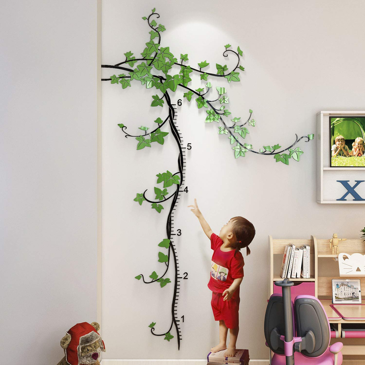 DecorSmart Baby Growth Chart for Kids Wall Sticker, Growth Height Measure Chart Ruler for Boys Girls Kids Toddlers Babies Childrens Nursery Room from Baby to Adult, Removable Ivy Wall Room Decor Ruler