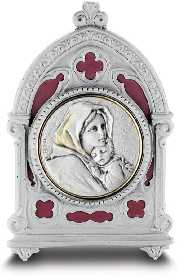 Madonna of the Street Gold Toned Plaque in Burgundy Enamel Pewter Frame, 4 Inch