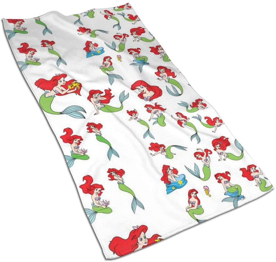 ~ Cartoon Mermaid Princess Soft Hand Towel Bath Hand Towels Washcloth for Home/Beach/Yoga 27.5 X 17.5 Inches