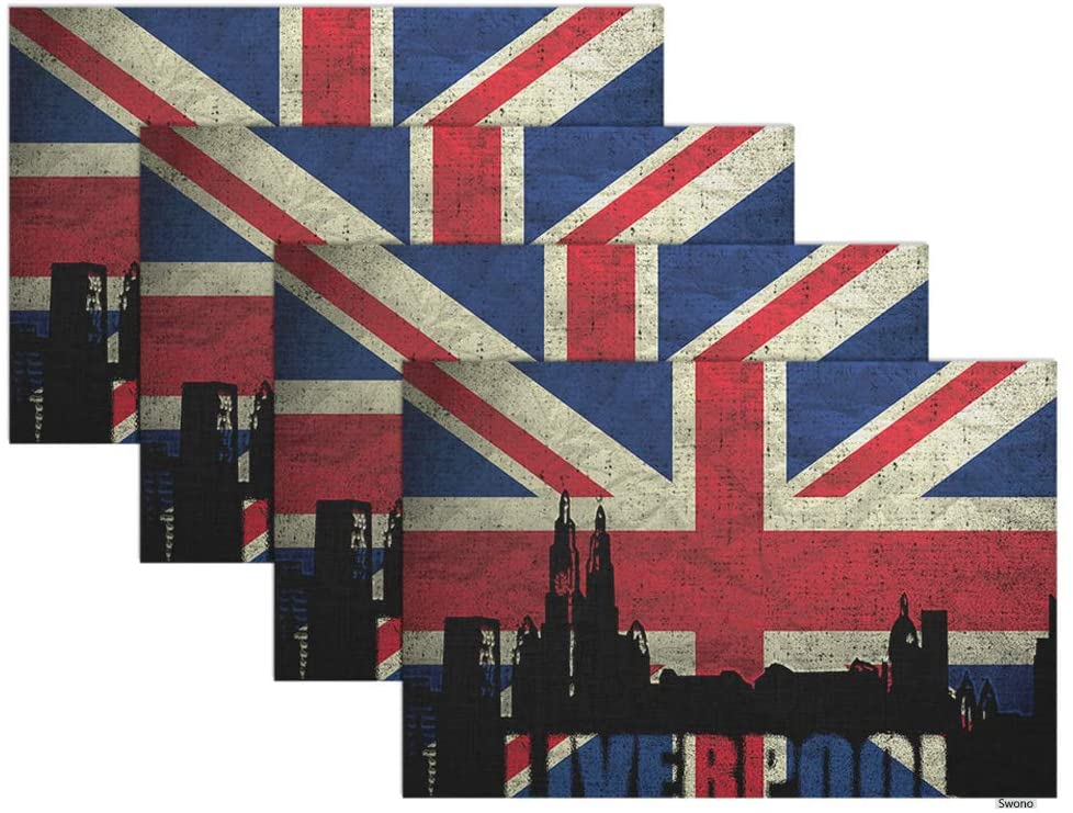 Swono British Flag Placemat Set of 4,View of Liverpool On The Grunge British Flag Placemats for Dining Table Home Decoration for Kitchen Oilproof Table Mats 12