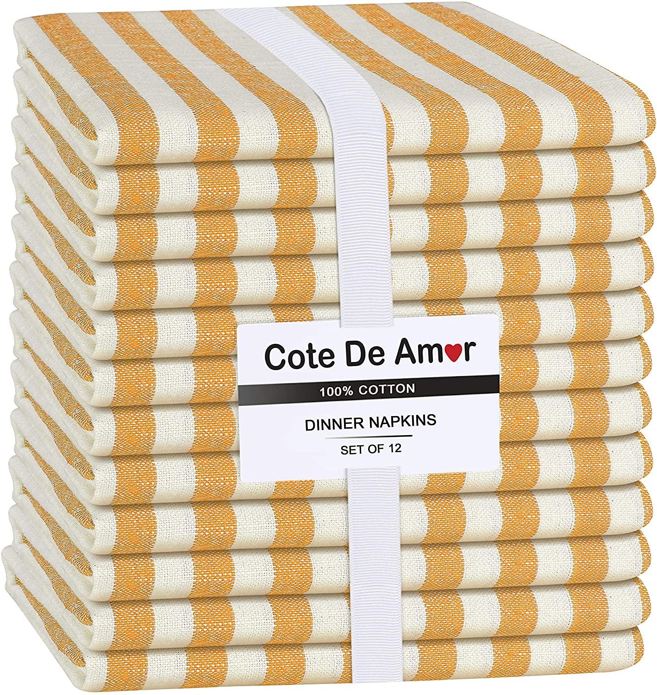 Cote De Amor 12 Pack 100% Cotton Cloth Dinner Napkins 17x17 Farmhouse Stripe, Soft Absorbent Restaurant Hotel Quality, Everyday Use Easy Care Machine Washable Wedding Dinner Napkins Yellow