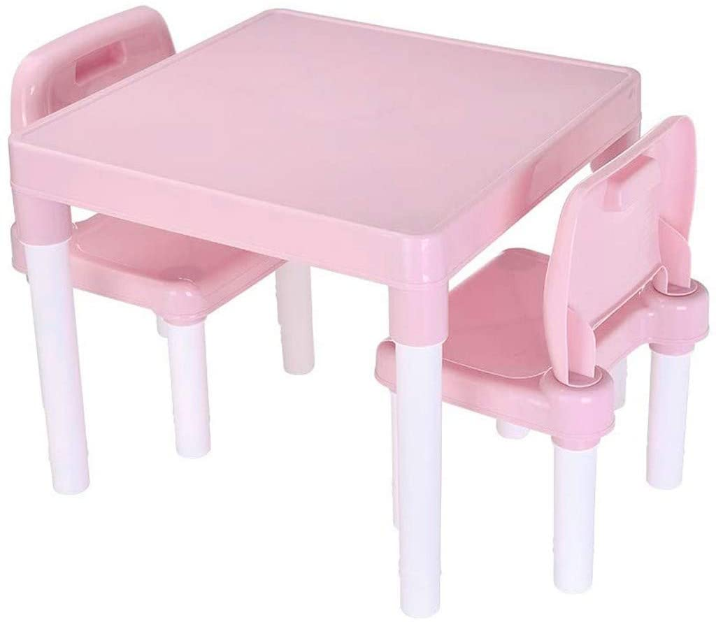 VEKI Kids Drawing and Painting Table and Desk Set, Kids Dining Table, Adjustable Height Writing Desk, Children Desk and Chair, Activity Play Desk Set for Kids