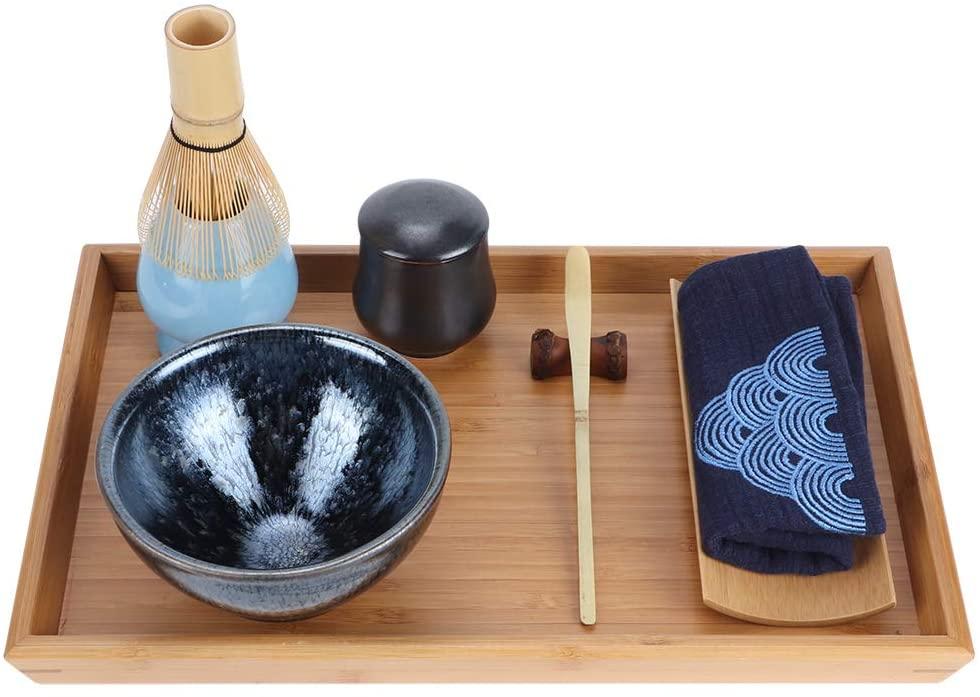 Atyhao Bamboo Matcha Tea Whisk Set Portable Japanese Ceramic Tea Set with Bamboo Tea Tray Service Tool Tea Ceremony Accessories