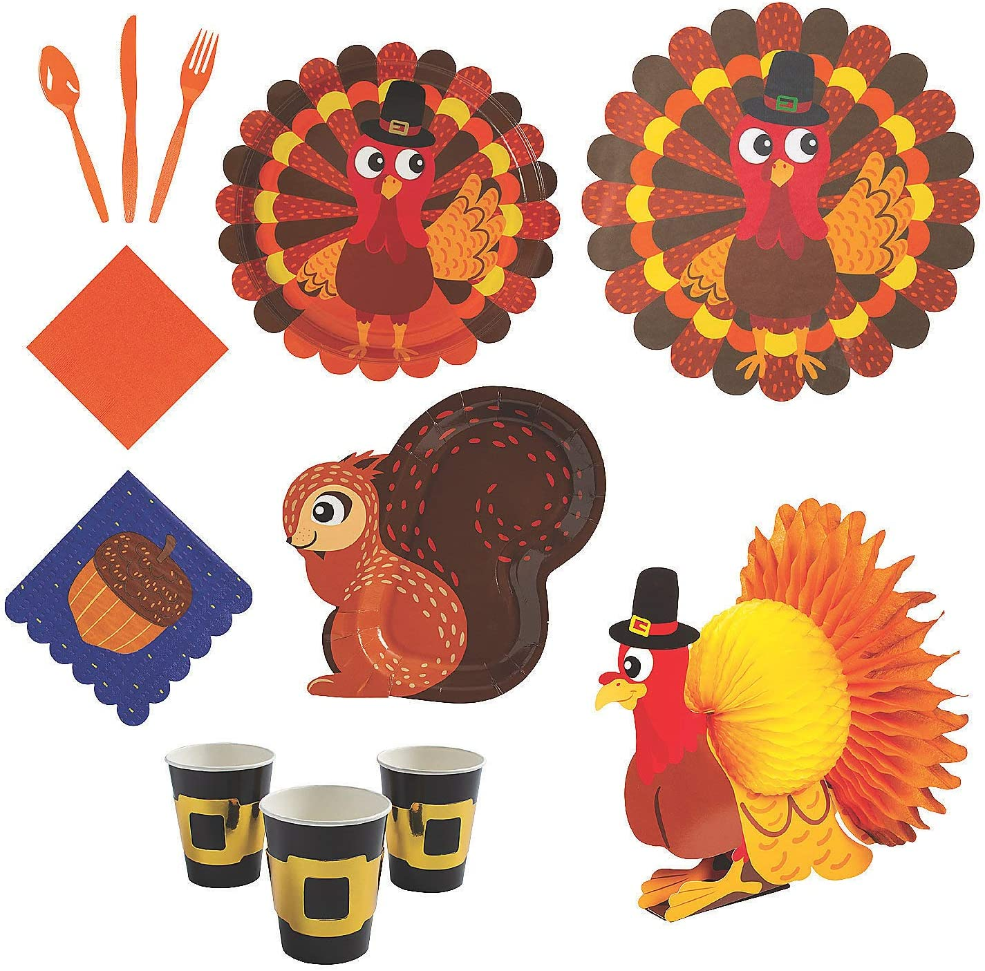 Fun Express Thanksgiving Friends Tableware Kit for 24 Guests - Party Supplies - 441 Pieces
