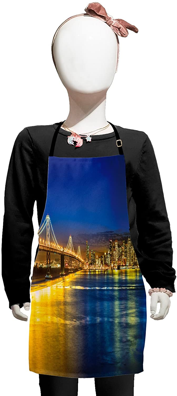 Lunarable USA Kids Apron, San Francisco California USA Tourist Attractions Skyscrapers and The Bridge View, Boys Girls Apron Bib with Adjustable Ties for Cooking Baking and Painting, Navy Blue Yellow