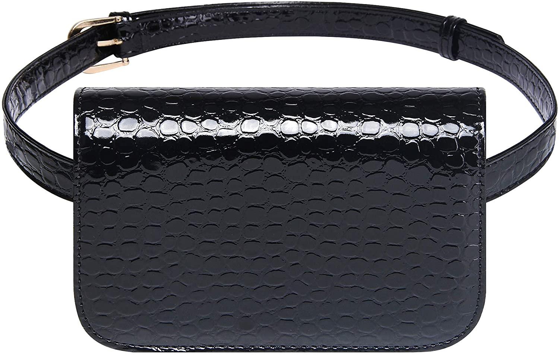 Badiya Women's Mini Waist Bag Fanny Packs Crocodile Leather Cell Phone Pocket (Black -A)