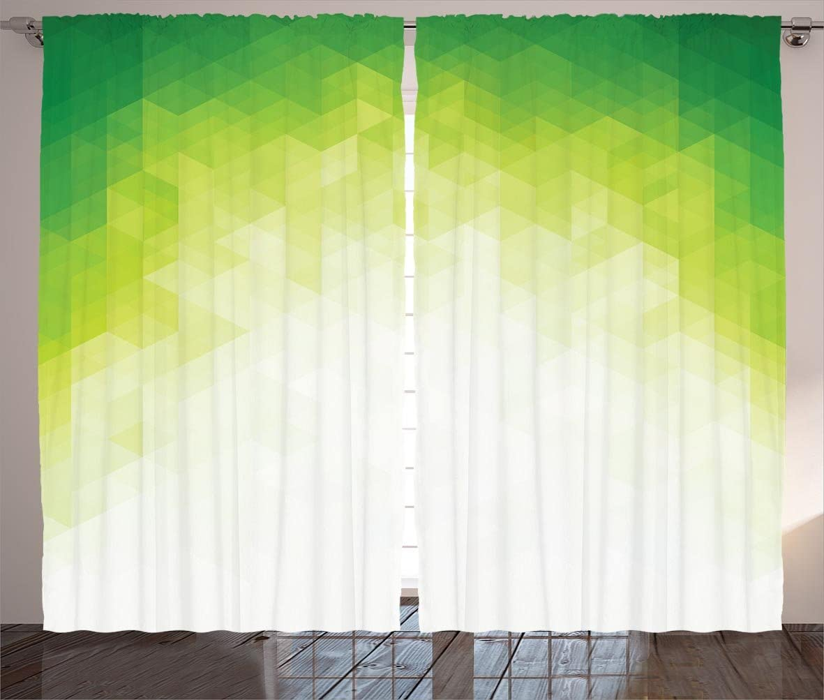 Ambesonne Abstract Curtains, Ombre Geometrical Graphic Design with Pixel from White Artwork, Living Room Bedroom Window Drapes 2 Panel Set, 108
