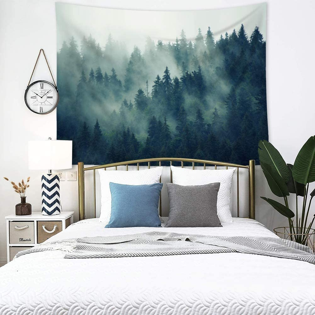 Misty Fir Forest Tapestry Wall Hanging Green Grey Tapestry Tree Woodland Landscape Blankets Art Wall Hanging Bedroom Living Room Dorm Decor60x50inch