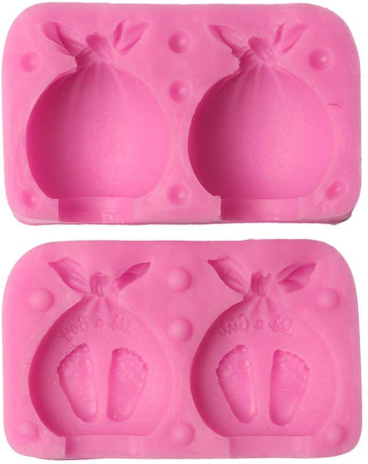 UNTERING 3D Baby Footprint Silicone Mold Soap Candle Cake Decorating Fondant Chocolate