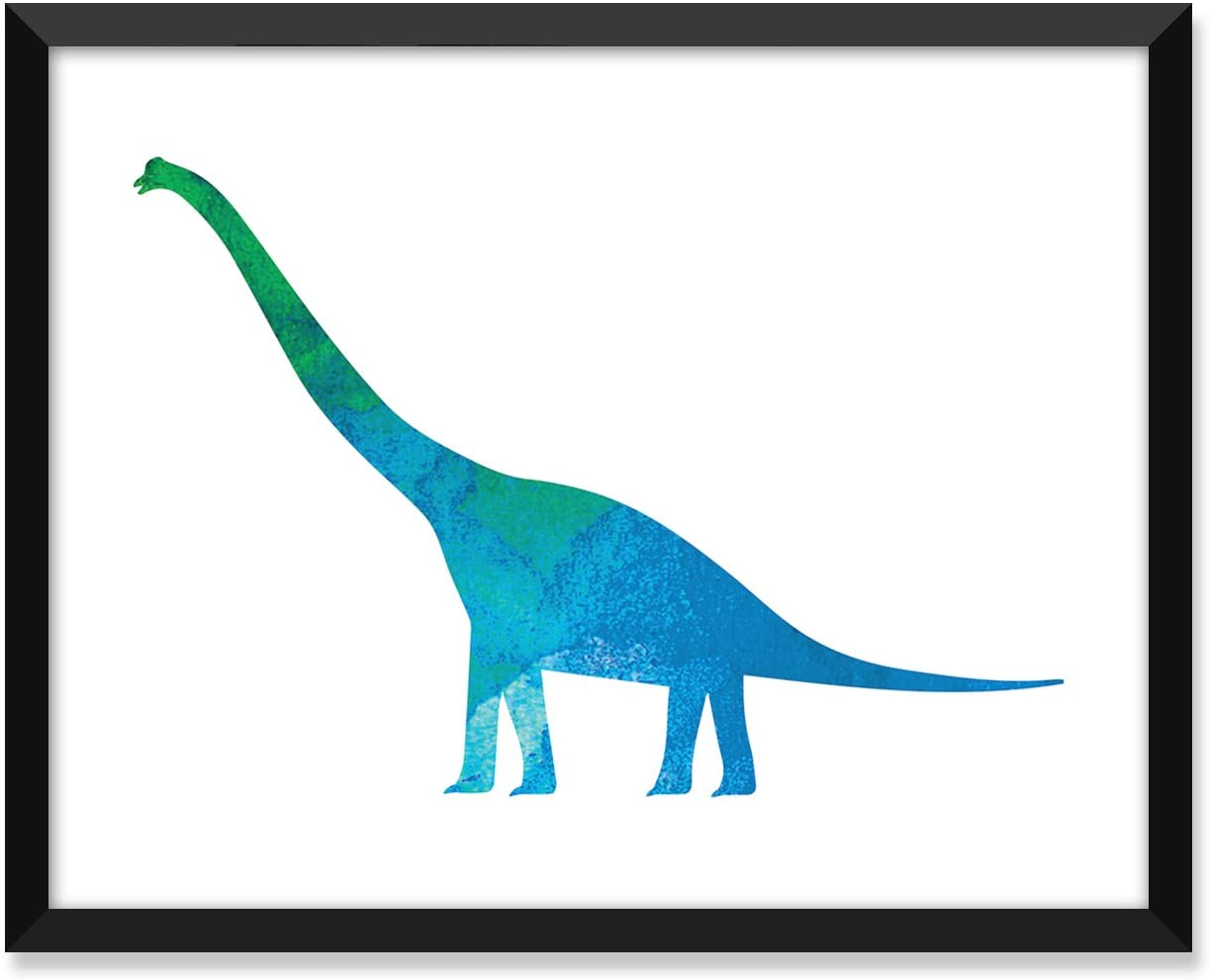 Serif Design Studios Dinosaur 1 Watercolor Blue Green, Nursery Art Print, Minimalist Poster, Home Decor, College Dorm Room Decorations, Wall Art