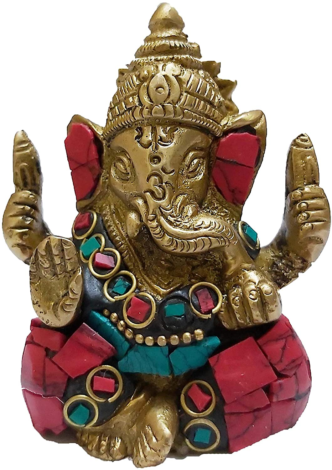 PARIJAT HANDICRAFT The Blessing God. A Colored & Gold Statue of Lord Ganesh Ganpati Elephant Hindu God Made from Solid Brass Metal with Turquoise Gem-Stone