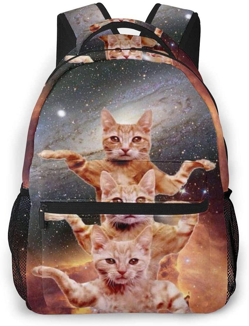 Fashion Backpack for Girls Boys Space Cat Print Cute School Bag Bookbag Daypack