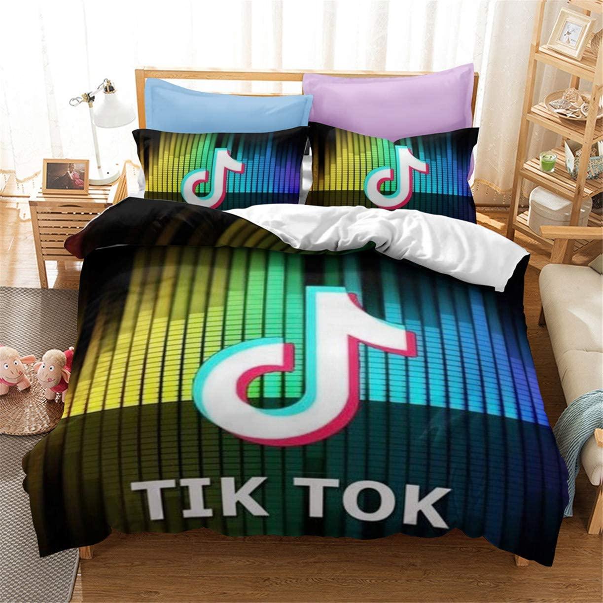 3 Pieces TIK Tok Black Bedding Set Social Media Logo Duvet Cover Set for Boys Teens 1 Duvet Cover & 2 Pillow Shams Queen Size