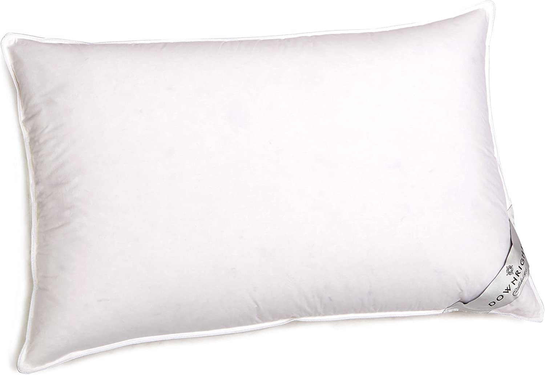 "Downright Cascada Summit Luxury White Goose Down Pillow – 600 Fill Power – 100% Cotton 300 Thread Count – 100% Hypoallergenic, 13oz Soft, Standard 20"" x 26"""