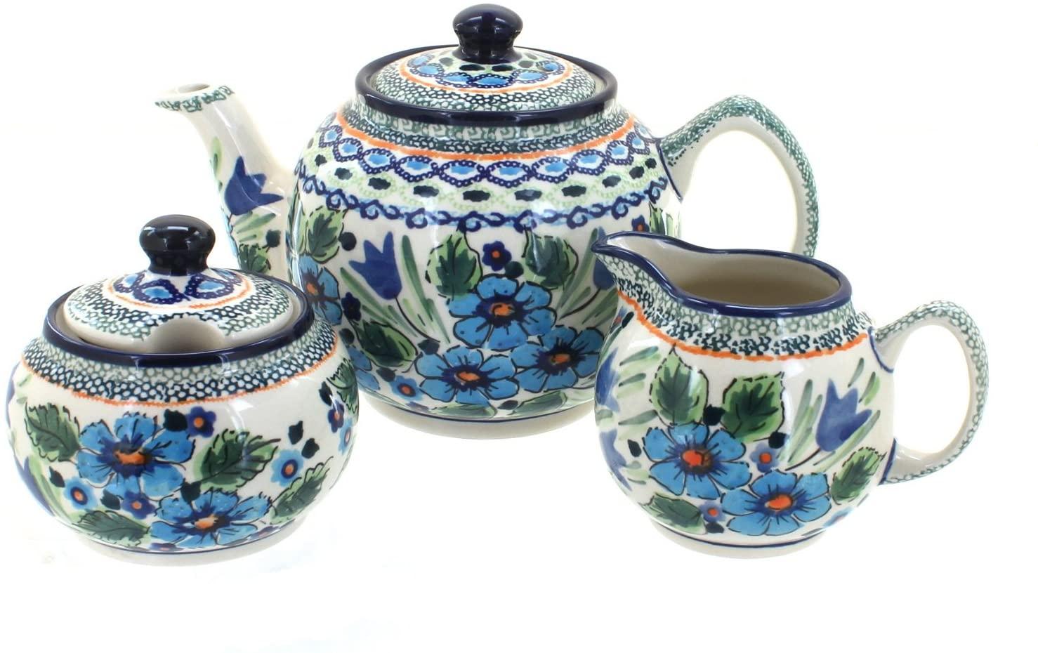 Blue Rose Polish Pottery Ballina 3 Piece Tea Set