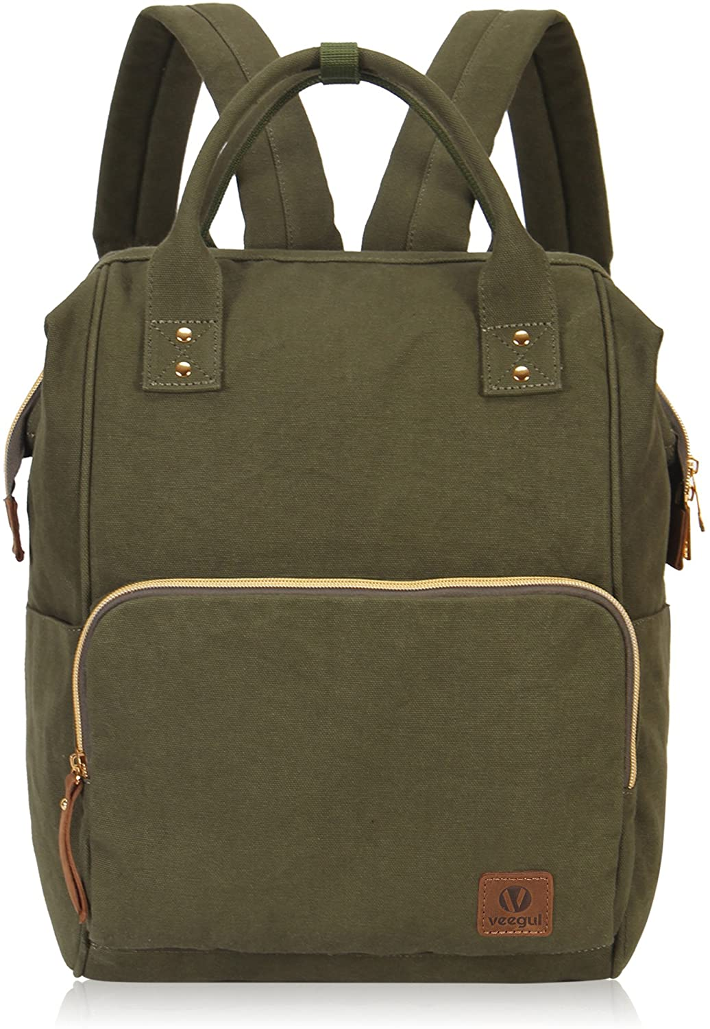 Veegul Stylish Doctor Style Multipurpose Travel Backpack Everyday Backpack for Men Women Single Pocket Army Green