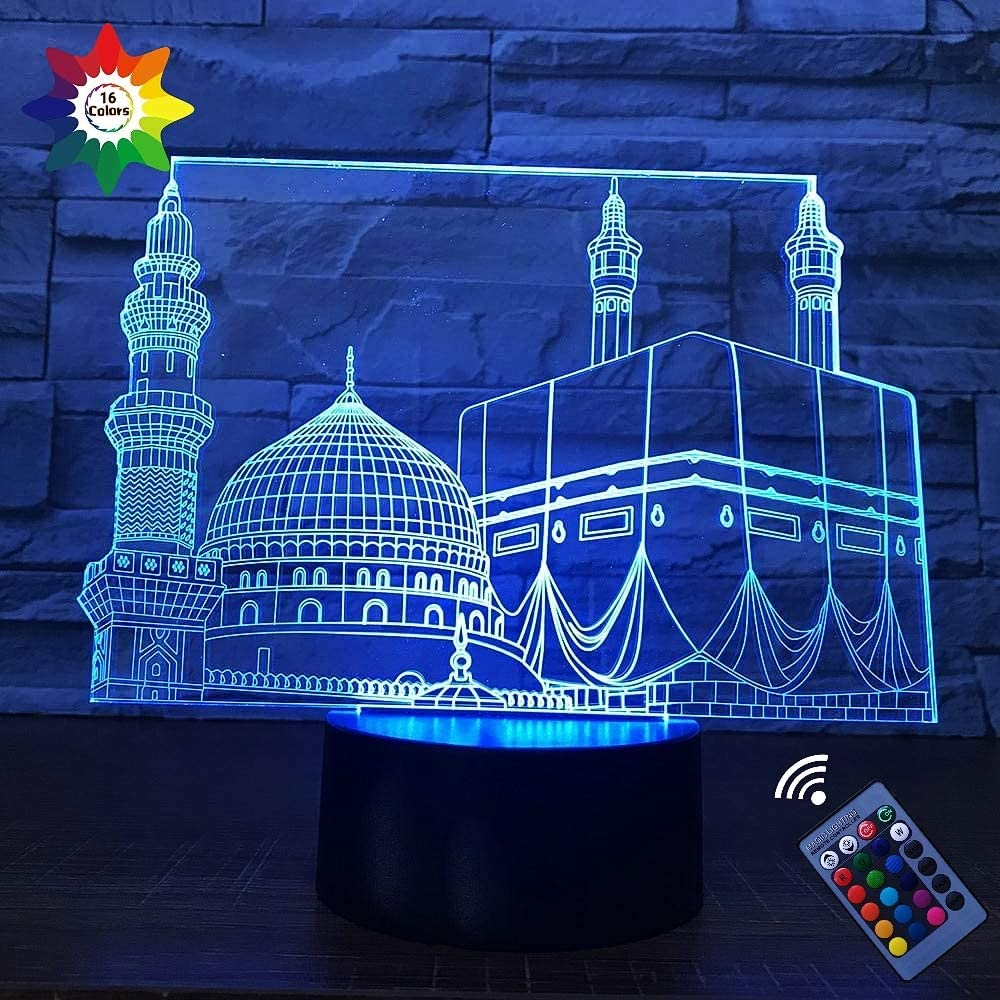 Optical Illusion 3D Islamic Castle Lamp Night Light 16 Colors Changing USB Powered Remote Control Touch Switch Decor Lamp LED Table Desk Lamp Brithday Children Kids Christmas Xmas Gift