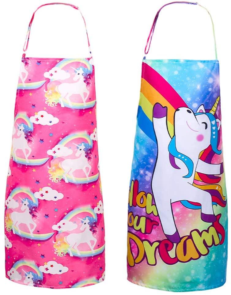 SUSSURRO 2 Pack Unicorn Apron Kids Apron Girls Apron Adjustable Apron for Kids Girls Boys Girl's Kitchen Cooking Baking Painting Wear