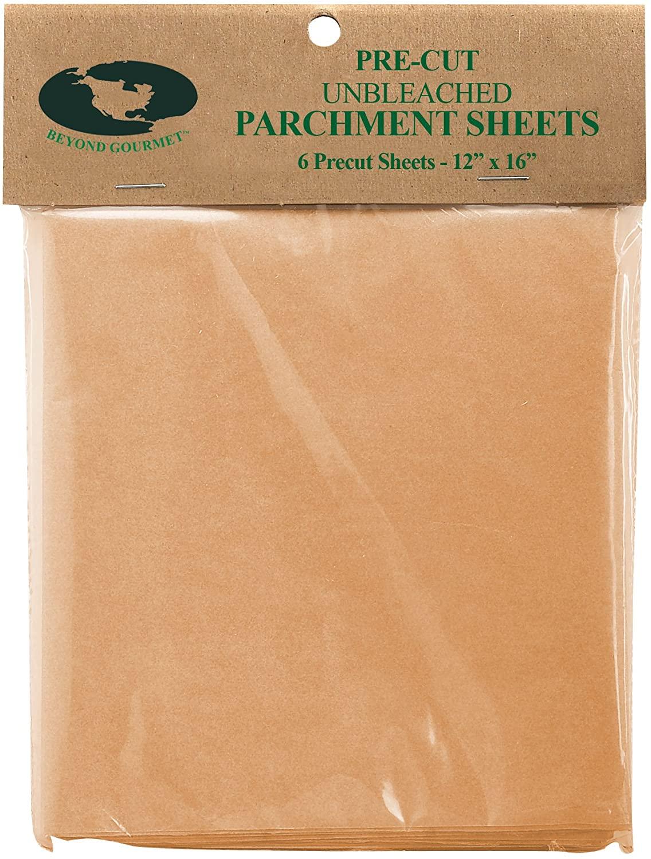 Beyond Gourmet Harold Import Co Pre-Cut Half-Size Non-Stick Parchment Paper, 12 x 16-Inch, 6 Sheets, natural