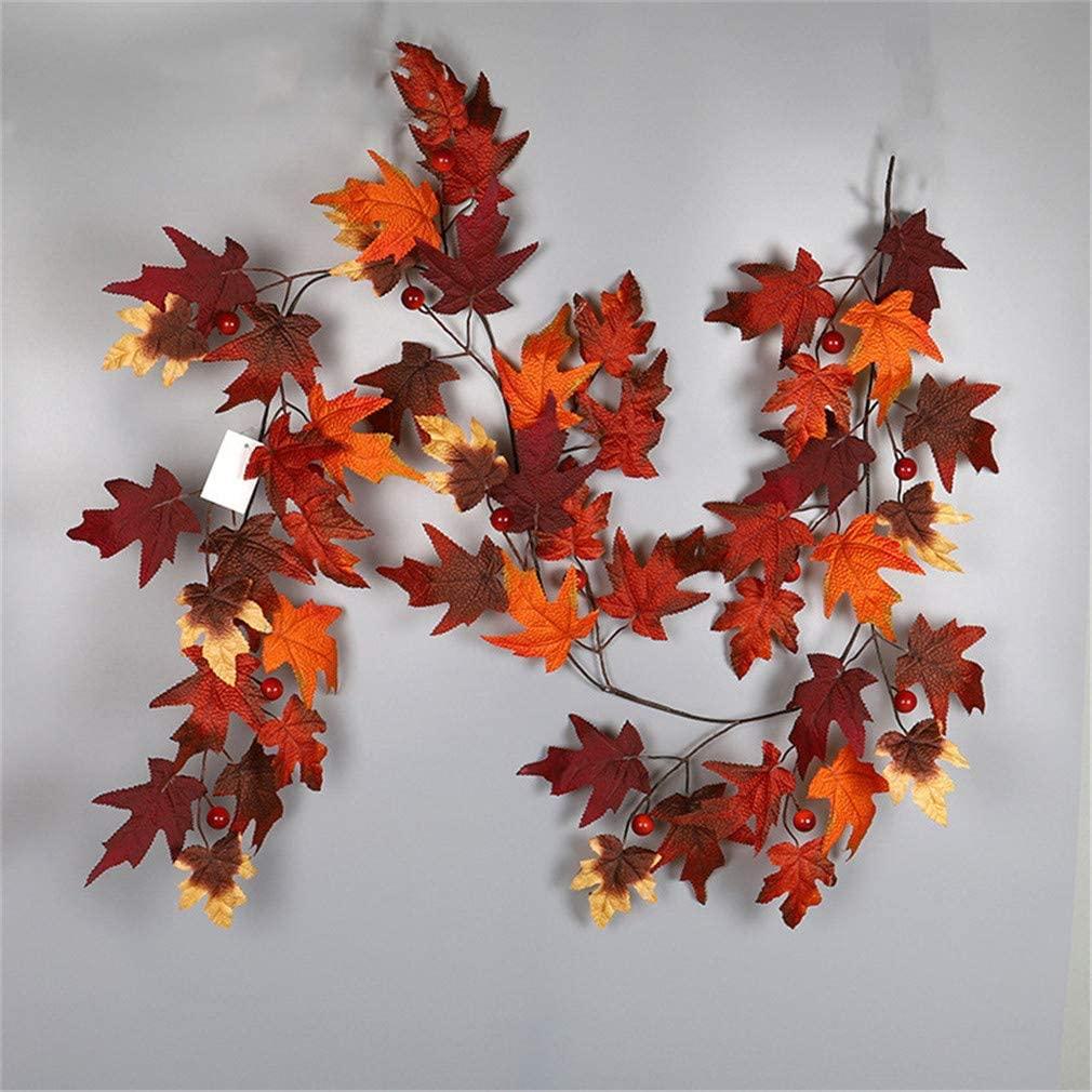Ulalaza Fall Maple Leaf Garland Halloween & Christmas Simulation Autumn Leaf Cane Decorative Pendant
