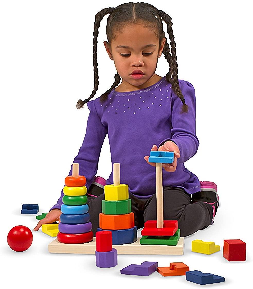 Melissa & Doug 25-Piece Wooden Geometric Stacker Toddler Toy + Free Scratch Art Mini-Pad Bundle [05678]