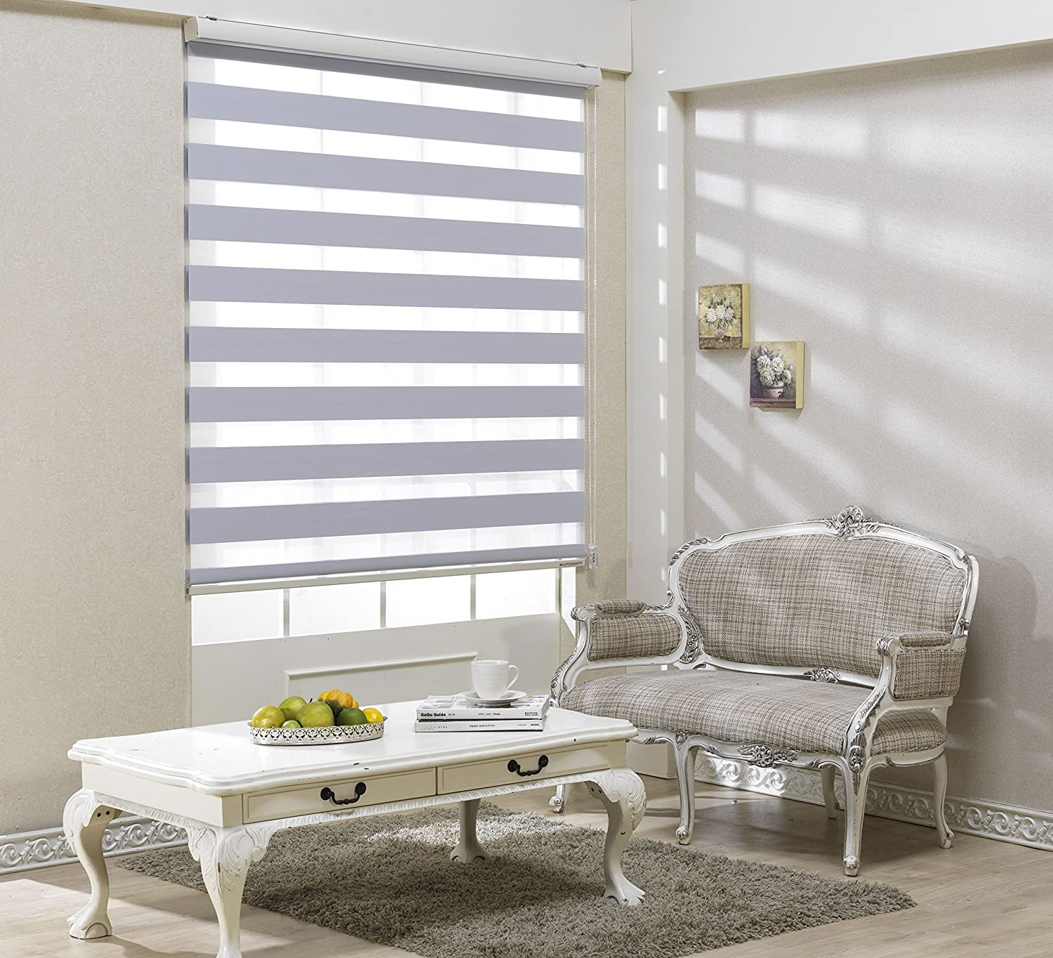 Custom Cut to Size, [Winsharp Blackout Jasmine, White, W 91 x H 82 inch] Zebra Roller Blinds, Dual Layer Shades, Sheer or Privacy Light Control, Day and Night Window Drapes, 20 to 110 inch wide