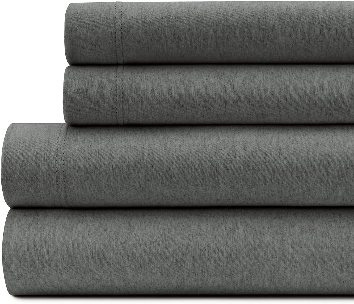 Briarwood Home Queen Jersey Knit Heather Bed Sheet Set - 4 Pc Soft & Luxurious, 100% Cotton Bedding - Breathable, Comfortable & Cozy - T-Shirt Soft All Season Sheets (Queen, Charcoal)