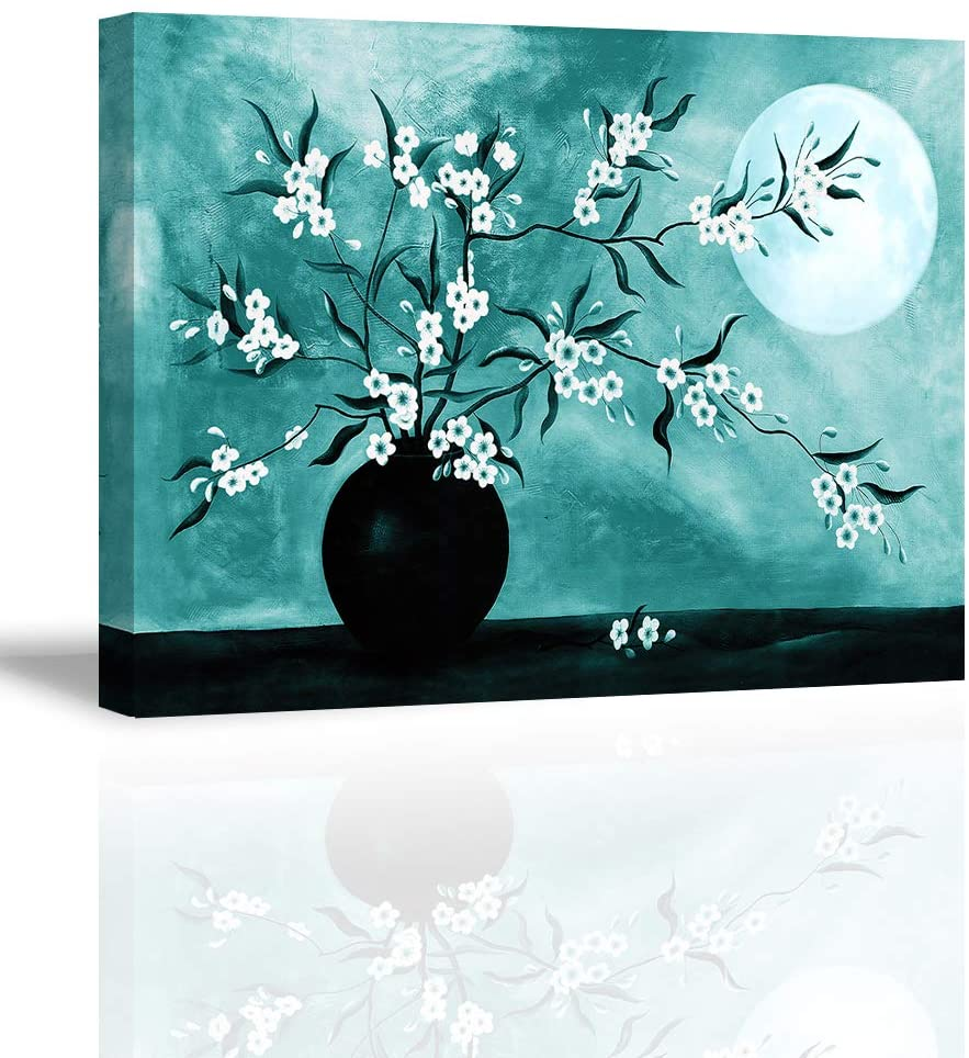 Tku's Flower Wall Decor Modern Teal Blue Plum Blossom Tree Wall Art Full Moon Canvas Oil Painting Aesthetic Picture Framed Home Decoration for Bedroom (Waterproof, Ready to Hang)